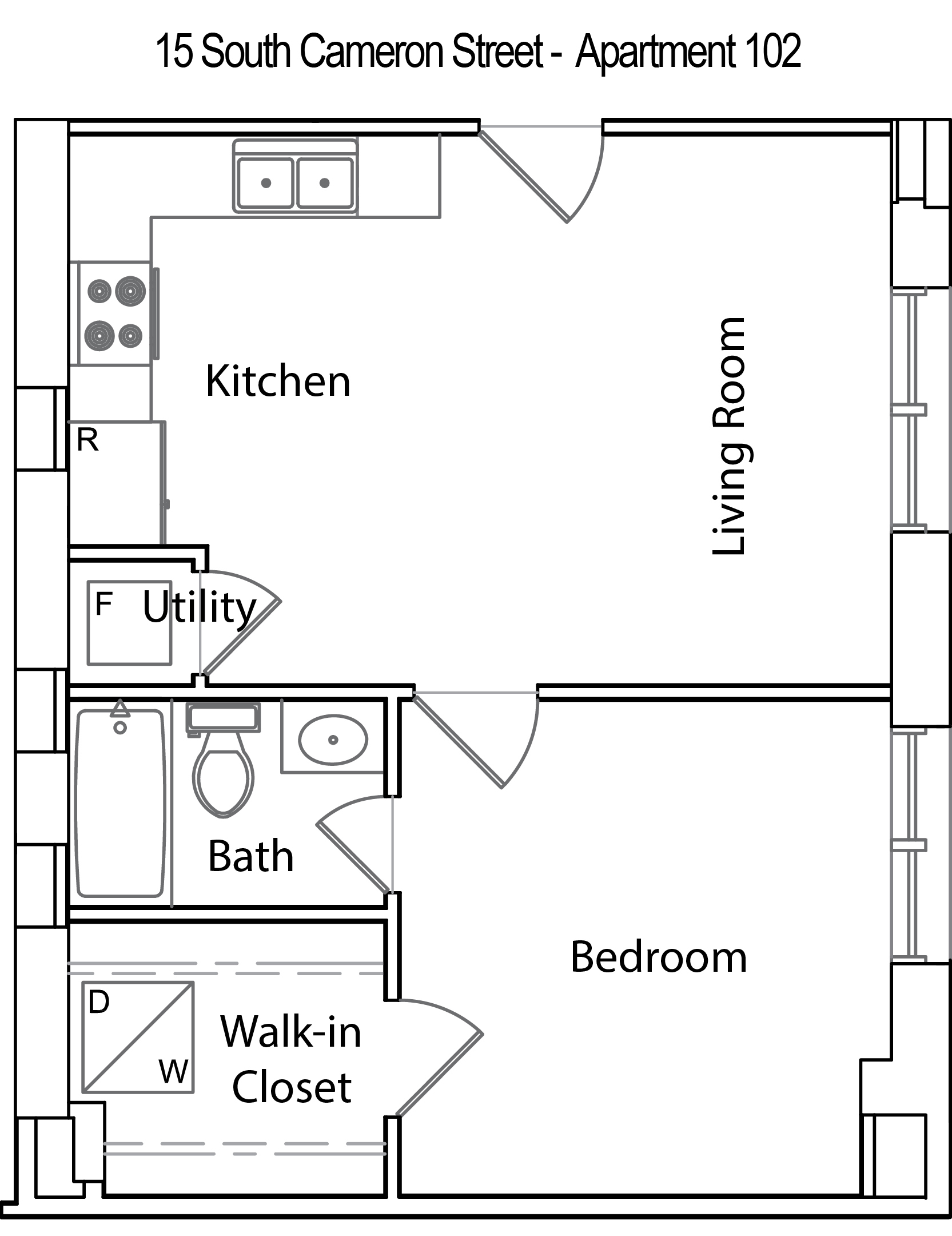 Click here to view floor plan. 15 South Cameron Street   Apartment 102   Rented   OakCrest Properties